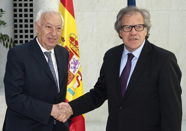 <em>El ministro español de Asuntos Exteriores y Cooperación, José Manuel Garcia Margallo (i), durante el encuentro bilateral con el secretario general de la OEA, Luis Leonardo Almagro Lemes, en Bruselas. (Foto Prensa Libre: EFE).</em>