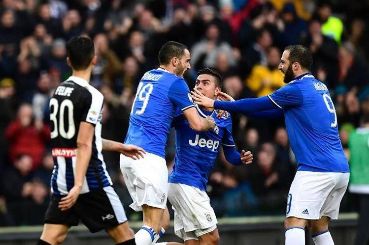 Bonucci anotó el agónico empate para la Juventus frente al Udinese. (Foto Prensa Libre: AFP)