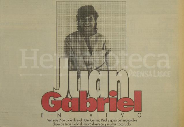 Anuncio del concierto de Juan Gabriel en Guatemala en 1996. (Foto: Hemeroteca PL)