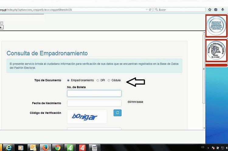 Eliga el documento que utilizará y escriba la información que se le solicita. (Foto: Prensa Libre).