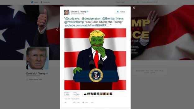 Pepe el Sapo se ha asociado a la imagen de Donald Trump en varios memes. @REALDONALDTRUMP