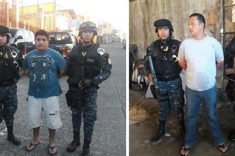 Los dos capturados fueron localizados durante varios allanamientos en Suchitepéquez. (Foto Prensa Libre: PNC)
