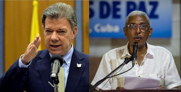 <em>Juan Manuel Santos, -izq.- presidente de Colombia y Joaquín Gómez, de las Farc. (Foto Prensa Libre: EFE/AFP).</em>