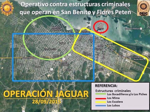Áreas de San Benito y Flores, Petén, donde la Policía y el MP efectúan allanamientos en busca de presuntos robamotos. (Foto Prensa Libre: PNC)
