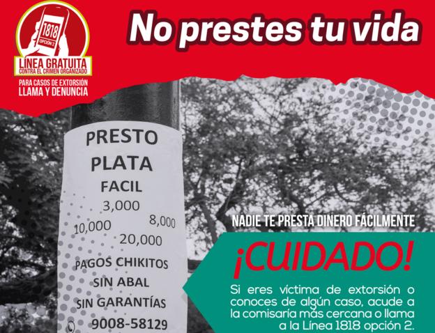 "El ministerio del Interior de Perú inició la campaña #NoPrestesTuVida después de que se reportó de que se realizan préstamos ""gota a gota"" en 97 ciudades de ese país. MINISTERIO DEL INTERIOR DE PERÚ"