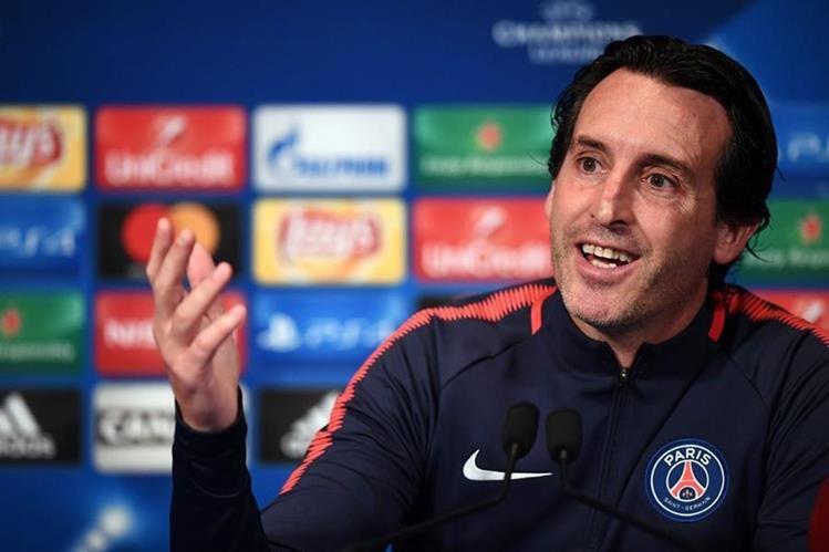 El técnico Unai Emery del PSG, durante la conferencia de prensa de este martes antes del juego contra el Bayern Múnich. (Foto Prensa Libre: AFP)