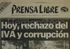 Titular de Prensa Libre del 1 de agosto de 2001. (Foto: Hemeroteca PL)
