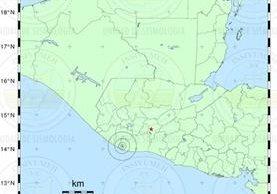Zona epicentral del sismo de 4.2 grados registrado esta noche. (Imagen: Prensa Libre/Insivumeh).