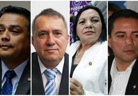 Los diputados Javier Hernández, Óscar Corleto, Laura Franco y Rudy Pereira. (Foto Prensa Libre: Hemeroteca PL)