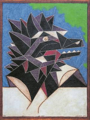 EL LOBO de la serie Fauna Guatemalensis, del maestro Luis Díaz, representa la construcción de la realidad a través de las formas y figuras geométricas.