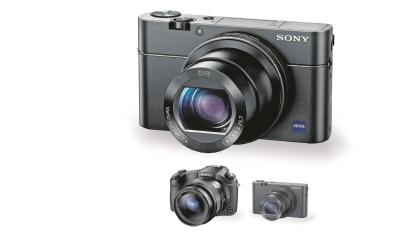 En la imagen de abajo se compara el tamaño de una cámara profesional básica con la RX100 IV. Ambas captan fotografías con similares características técnicas.