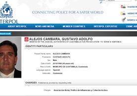 El empresario Gustavo Alejos Cámbara aparece en la página de Internet de Interpol, entre las personas más buscadas por las autoridades de Guatemala (Foto Prensa Libre: Página Interpol).