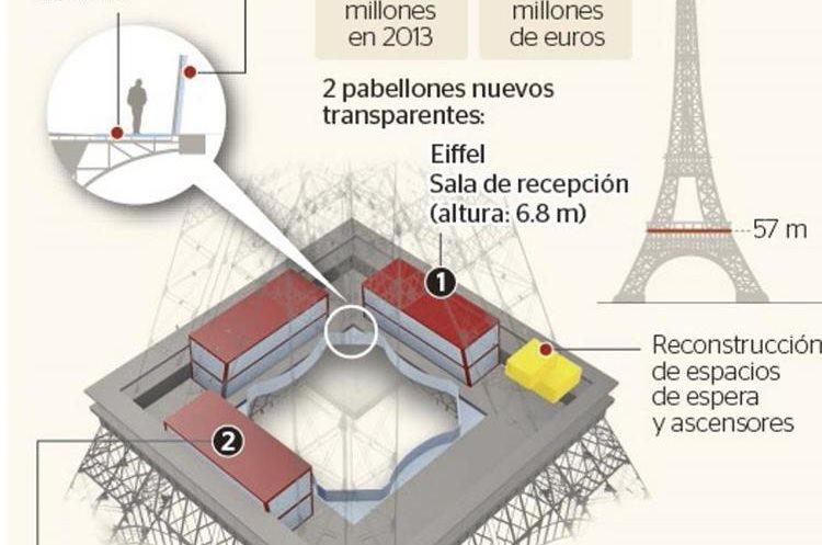 Infografía de octubre del 2014 sobre la planta remodelada de la Torre Eiffel de París, Francia, la cual cuenta con  pabellones transparentes.(Foto: Hemeroteca PL)