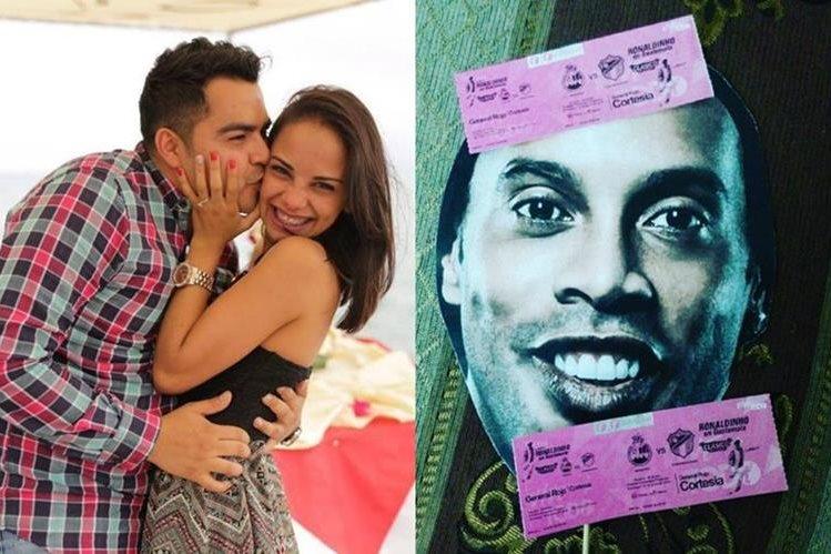 Ella le dio la sorpresa de su vida al invitarlo al partido de Ronaldinho. (Foto Prensa Libre: Facebook Esthefany González)