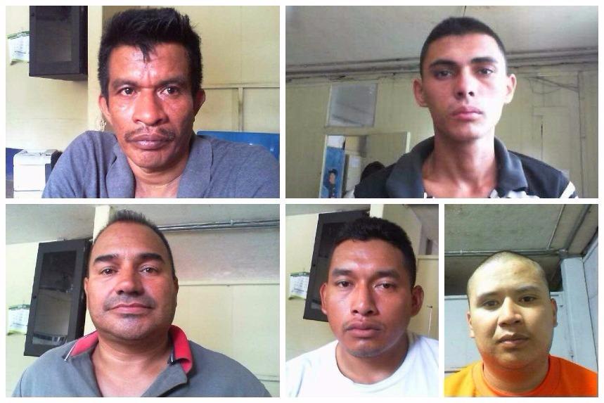Los cinco reos fugados de la Granja Penal Canadá, en Escuintla. (Foto:Prensa Libre)
