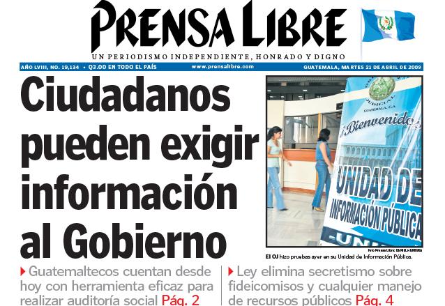 Titular de Prensa Libre del 21 de abril de 2009. (Foto: Hemeroteca PL)