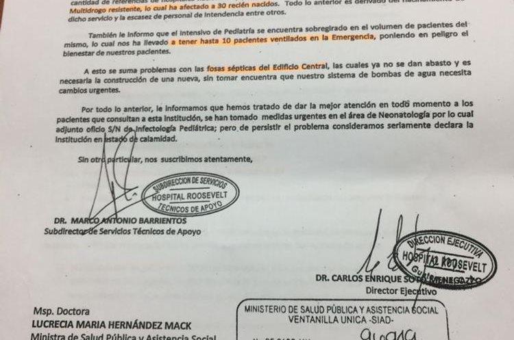 Copia del oficio que autoridades del Hospital Roosevelt enviaron al Ministerio de Salud para notificar el brote y pedir apoyo para controlarlo. (Foro Prensa Libre: PDH)