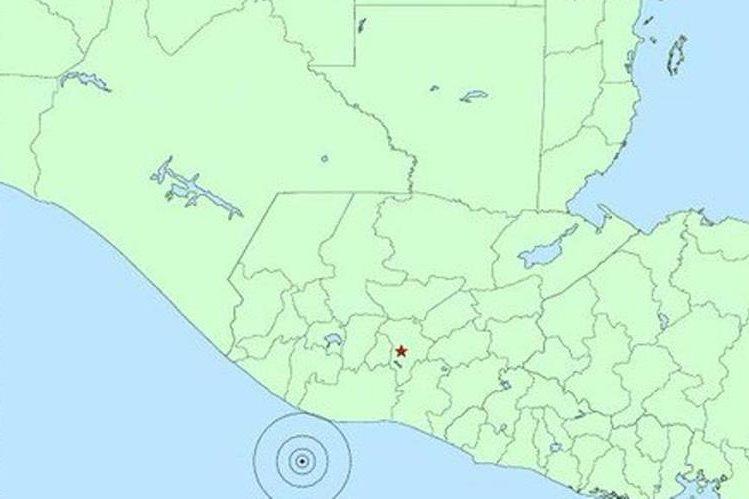 Mapa muestra epicentro del sismo. (Foto Prensa Libre: Conred).