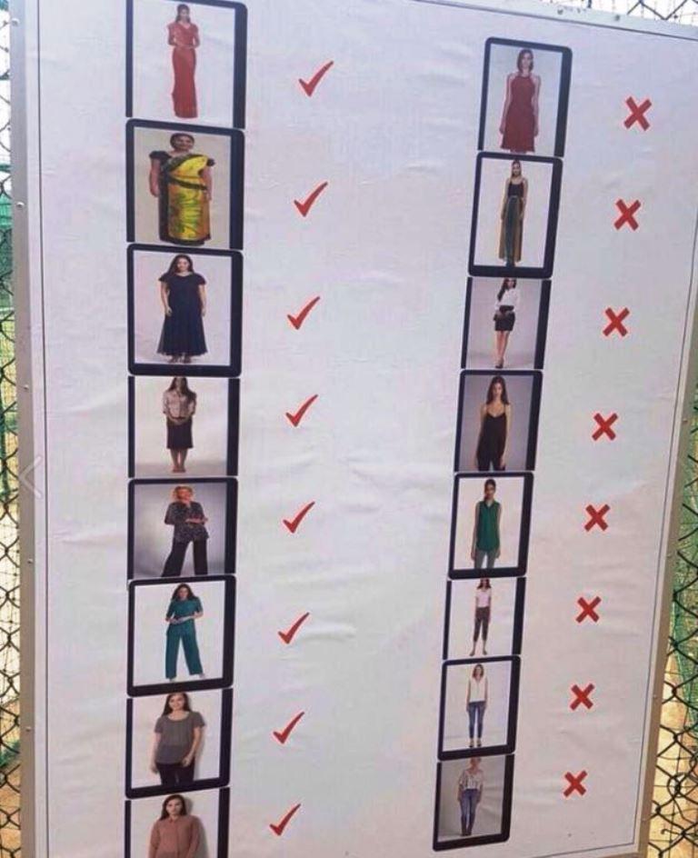 Saris sí, camisetas de tirantes y faldas sobre la rodilla o jeans no, indica el cartel de la discordia.