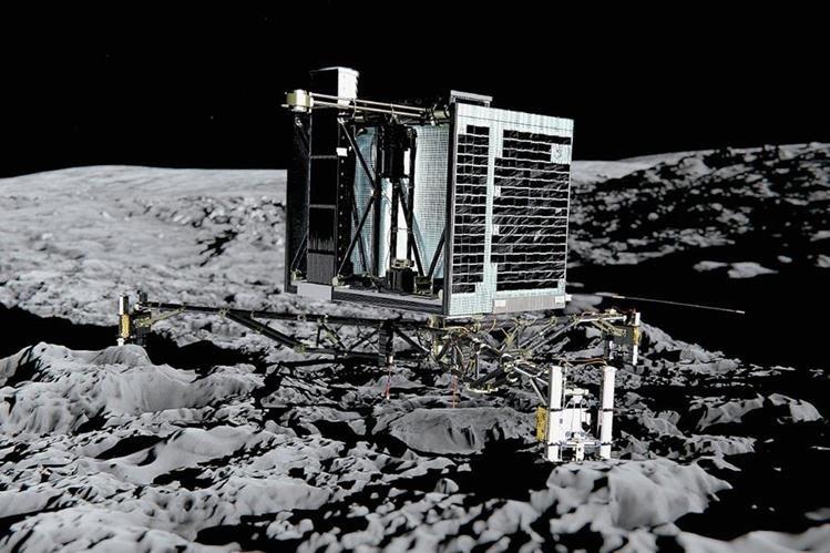 Imagen del robot espacial europeo Philae posado en la superficie de un cometa permanece silencioso desde hace 10 días. (Foto Prensa Libre:AFP)