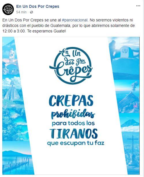El restaurante En Un dos Por Crepas también se sumó a la marcha pacífica de este 20 de septiembre. (Foto Prensa Libre: Cortesía)