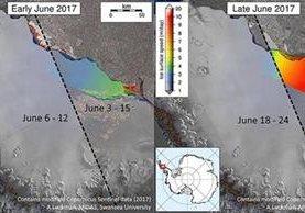 Ilustración del avance de la ruptura del bloque de hielo -en rojo- del Larsen C. (Foto Prensa Libre: AFP)