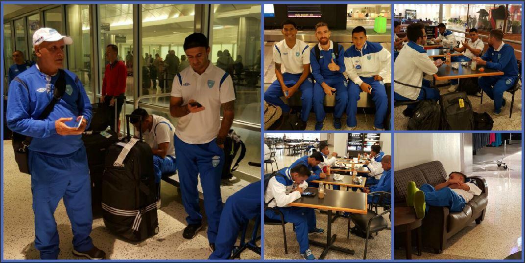 El combo de fotografías muesta a los seleccionados nacionales en el aeropuerto de Houston en Estados Unidos, donde hicieron escala antes de llegar a Ohio, sede del partido del martes.(Foto Prensa Libre: Cortesía ACD)