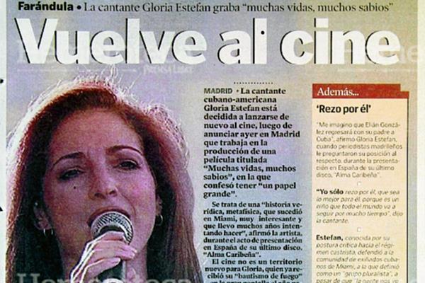 Gloria Estefan, en una nota del 17 de mayo de 2000. (Foto: Hemeroteca PL)
