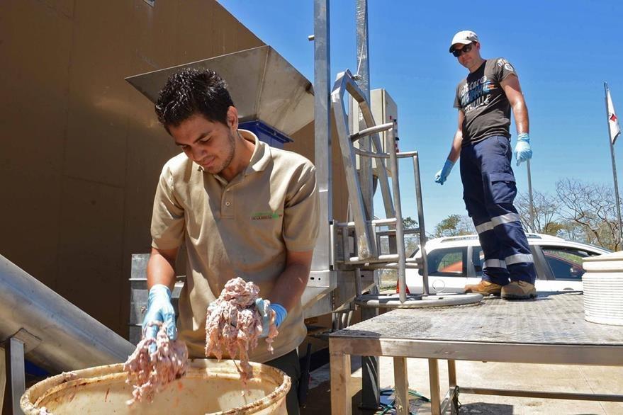 Trabajadores procesan residuos de animales que serán utilizados en el biodigestor. (Foto Prensa Libre: AFP)