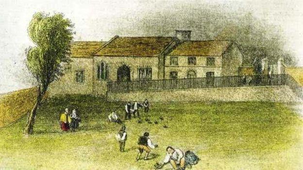 Los bolos se jugaban en el mismo lugar de Chesterfield donde se ubica el club desde que se fundó en 1294. PICTURETHEPAST.ORG.UK