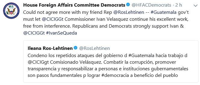 Mensaje de los congresistas estadounidenses. (Foto Prensa Libre: Twitter)