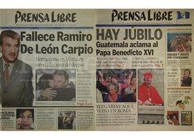 Portadas de Prensa Libre del 17 de abril de 2002 y del 20 de abril de 2005. (Foto: Hemeroteca PL)