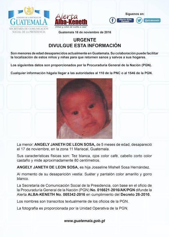 Alerta Alba Keneth activada por la desaparición de la niña Angely Janeth de León Sosa, de 5 meses.