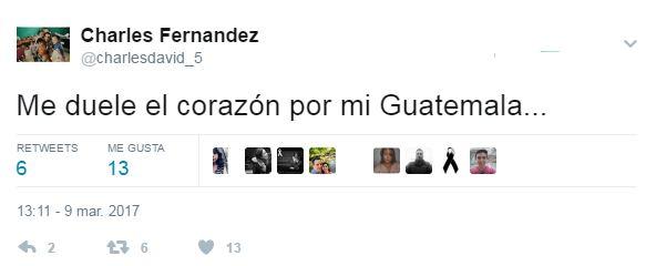 Charles Fernández muestra su dolor por lo ocurrido en el Hogar Seguro Virgen de la Asunción. (Foto Prensa Libre: Twitter)