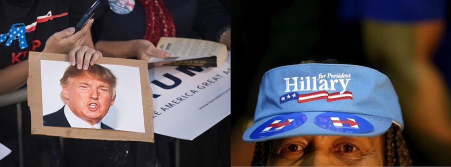 Partidarios de Donald Trump y Hillary Clinton portan artículos promocionales con la imagen de su favorito. (Foto Prensa Libre: AFP).