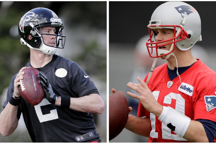 El duelo entre los mariscales Tom Brady y Matt Ryan es uno de los atractivos del Super Bowl, que se jugará el domingo en Houston. (Foto Prensa Libre: AP)