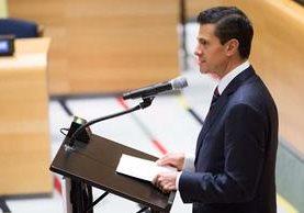 El presidente de México, Enrique Peña Nieto, durante su intervención en la reunión de la ONU. (Foto Prensa Libre: EFE).