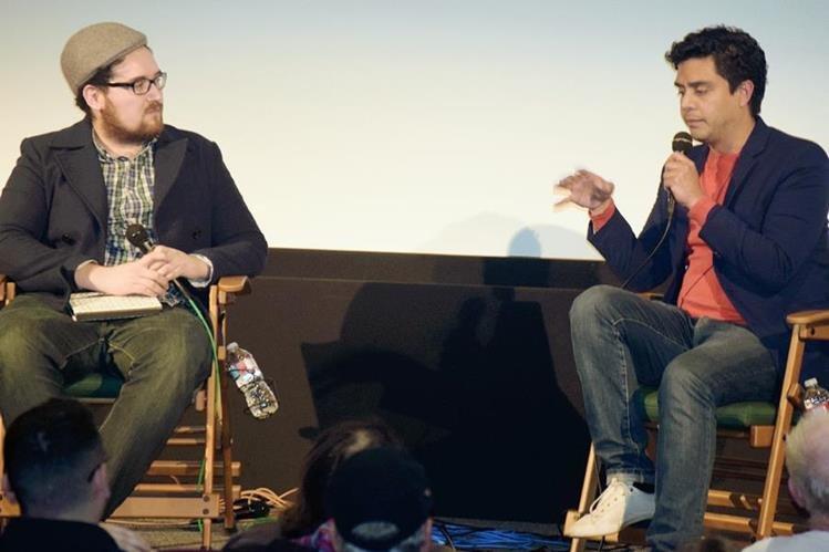 Jayro Bustamante —derecha— presentó este sábado Ixcanul a los miembros de la Academia de Ciencias Cinematográficas, en Santa Mónica, California. (Foto Prensa Libre: Giovanni Bautista).