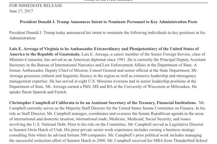 Comunicado de la nominación de Luis Arreaga para la embajada de Estados Unidos en Guatemala.