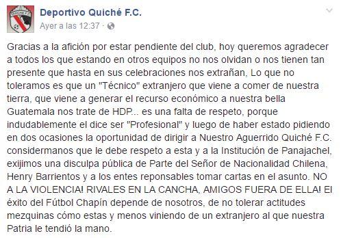 Este es el mensaje que Quiché FC publicó, y en el que exige una disculpa. (Foto Prensa Libre: Facebook Quiché FC)