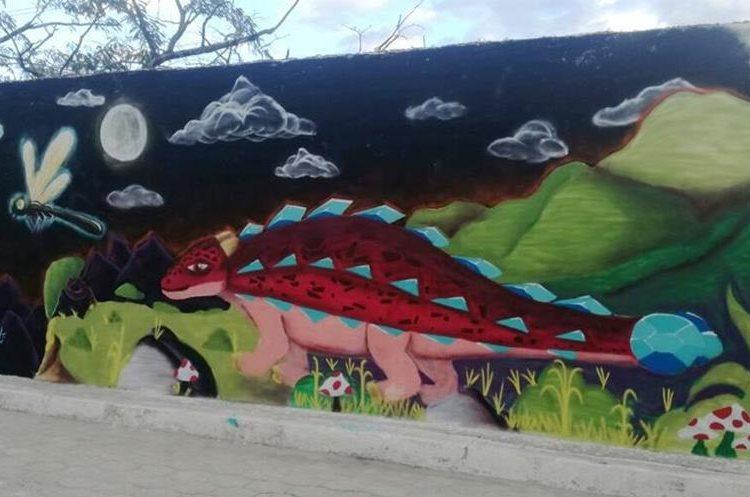 Murales resaltan detalles de animales prehistóricos