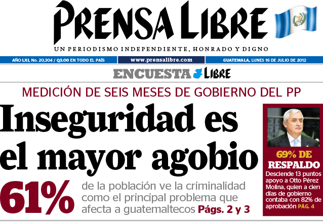 Inseguridad, el mayor reto del entonces Otto Pérez, en 2012. (Foto: Hemeroteca PL)