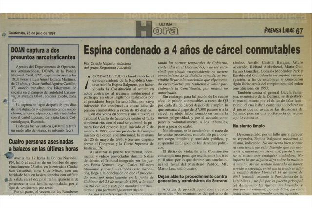Espina Salguero recibe condena conmutable por cuatro años. (Foto: Hemeroteca PL)