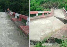 Recientemente las autoridades recomendaron no utilizar el puente, pues se temía su colapso. (Foto Prensa Libre: Héctor Cordero)