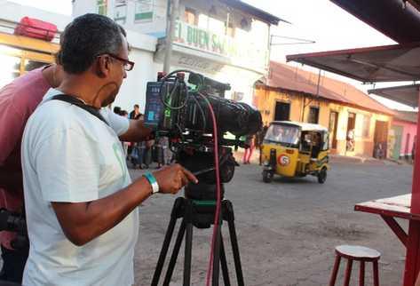 La filmación de escenas de este jueves se llevó a cabo en el área urbana de Sololá. (Foto Prensa Libre: Édgar René Sáenz)