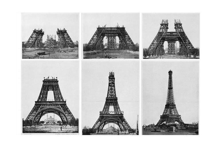 La construcción de la Torre Eiffel comenzó el 28 de enero de 1887. La obra fue  un éxito de la ingeniería. Los trabajos  llevaron dos  años, dos meses y cinco días. (Foto Prensa Libre: Historia Tours)