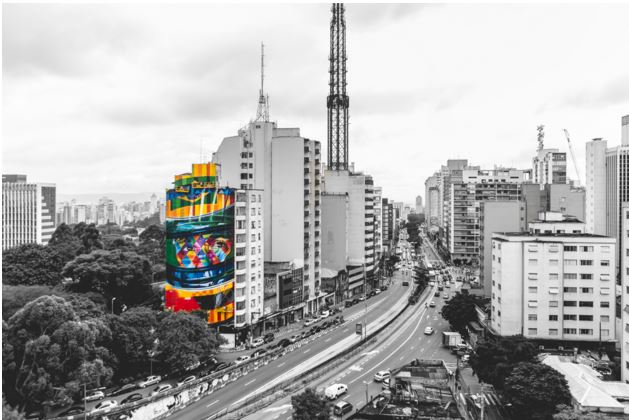 Así luce el mural en la zona financiera de Sao Paulo. (Foto Prensa Libre: aredacao.com.br)