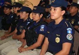 Agentes de la PNC que participaron en el plan de seguridad por la visita de salvadoreños. (Foto Prensa Libre: Cortesía)