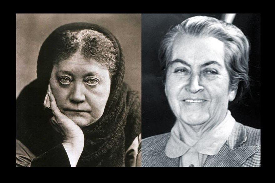 Helena Blavatsky (izquierda),  una de las fundadoras  de la Sociedad Teosófica y la escritora chilena Gabriela Mistral, quien fue vital en el movimiento teosófico latinoamericano. (Foto Hemeroteca PL).
