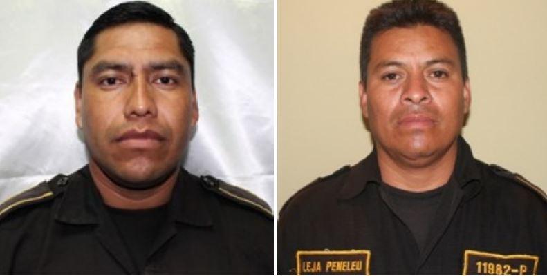 Los agentes de PNC fallecidos, Arnoldo Vitorino Alejo Penelu y Alberto Güigüi. (Foto: PNC)